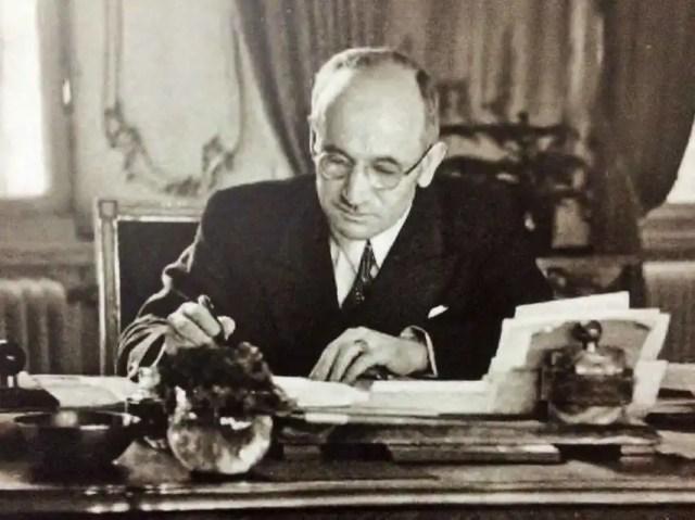 Edvard Beneš, presidente checoslovaco en el exilio.