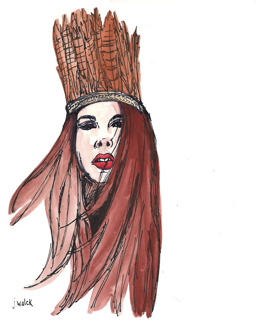 art, brown, crown, drawing, feathers