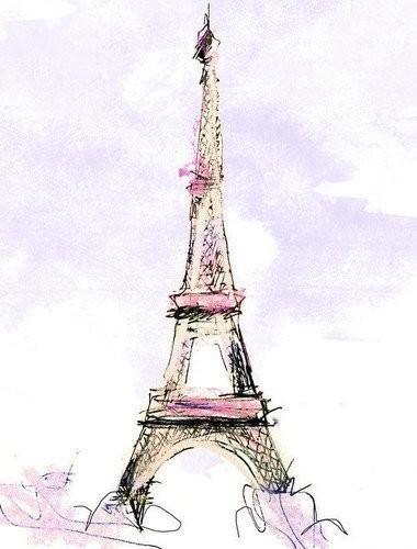 art, paris, pink, sketch