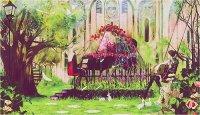 anime, flowers, garden, green, guitar