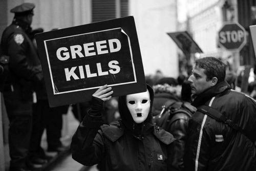 Black, Black And White, Greed, Mask, Occupy Wall