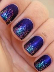blue colors glitter nails pretty