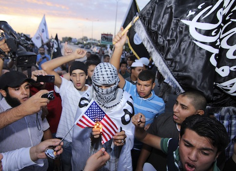 Ansar al Shariah supporters protest the United States' capture of Abu Anas al-Libi / AP