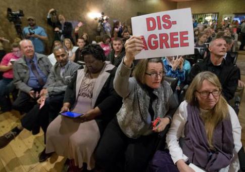 A town hall meeting with Rep. Dave Brat (R., Va.) / AP