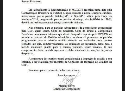 Raposa ignora CBF e diz que jogo do clube no Almeidão vai ter torcida
