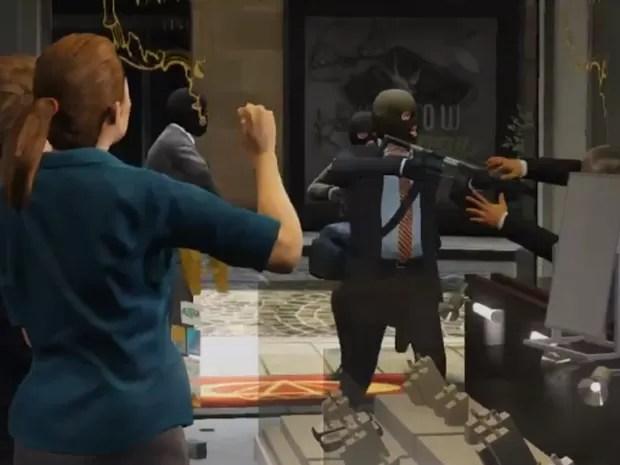 Cena de missão que envolve assalto em 'GTA V' (Foto: Divulgação/Rockstar)