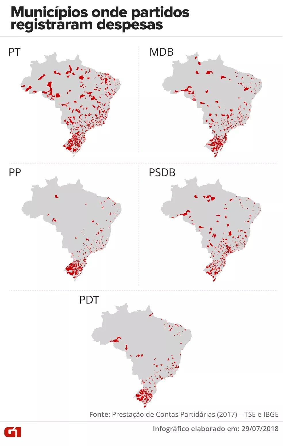 Municípios onde partidos registraram despesas (Foto: Lucas Gelape e Karina Almeida/G1)