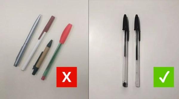Canetas pretas de tubo transparente são as indicadas para fazer a prova do Enem — Foto: Juliane Souza/G1