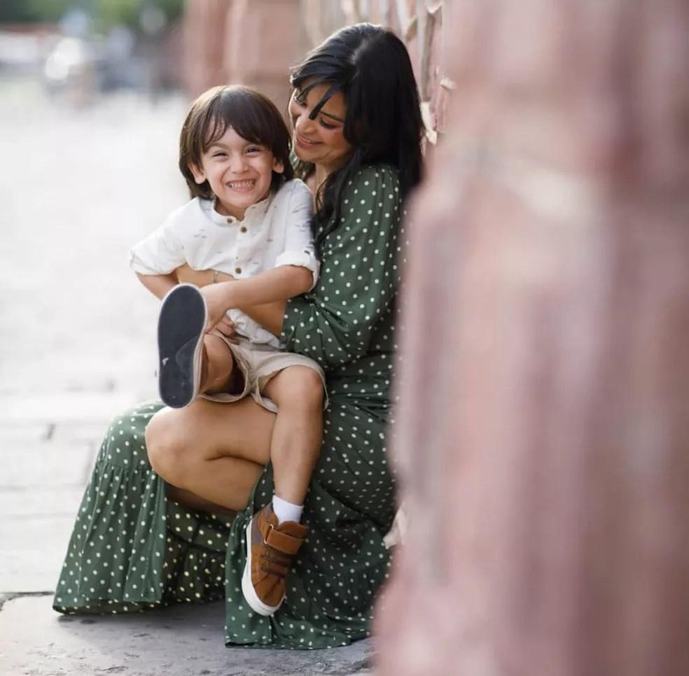 Anne Lucy Silva Barbosa e o filho Benjamin Gael  — Foto: Arquivo pessoal