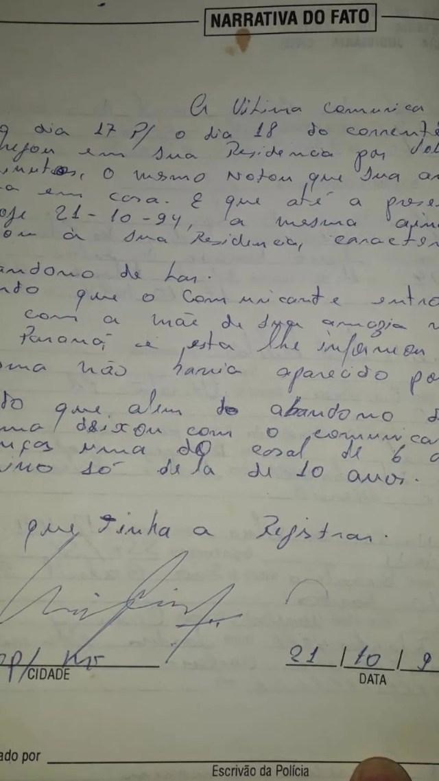 Boletim de ocorrência sobre o desaparecimento da mulher, registrado na época do crime — Foto: GC notícias