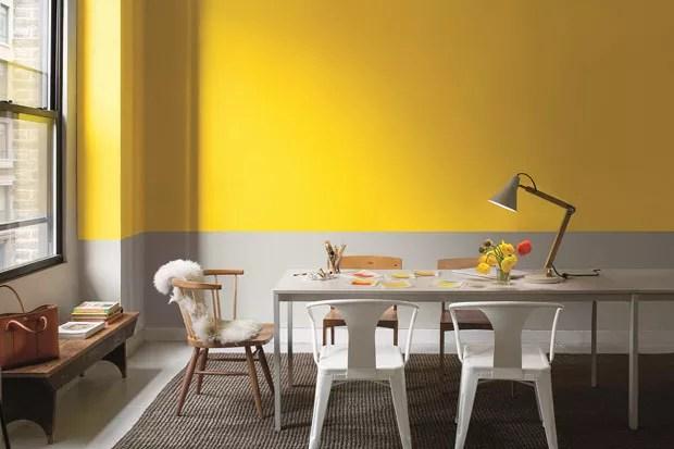 Dcor do dia Sala de jantar bicolor amarela e cinza