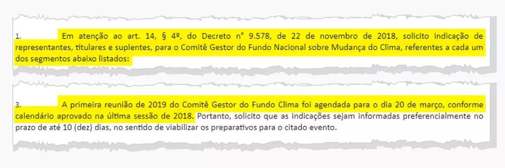Ofício do Ministério do Meio Ambiente convoca reunião do comitê gestor do fundo do Clima para 20 de março; encontro, entretanto, foi cancelado, segundo integrante — Foto: Arte/G1