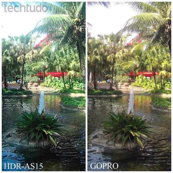 Em comparação com a GoPro, a Sony FDR-AS15 deixa a desejar na qualidade da imagem (Foto: Anna Kellen/TechTudo)