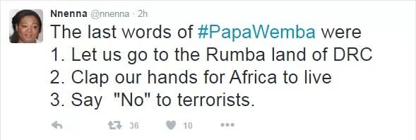 Ultimas palavras de Papa Wemba (Foto: Reprodução/ Twitter)