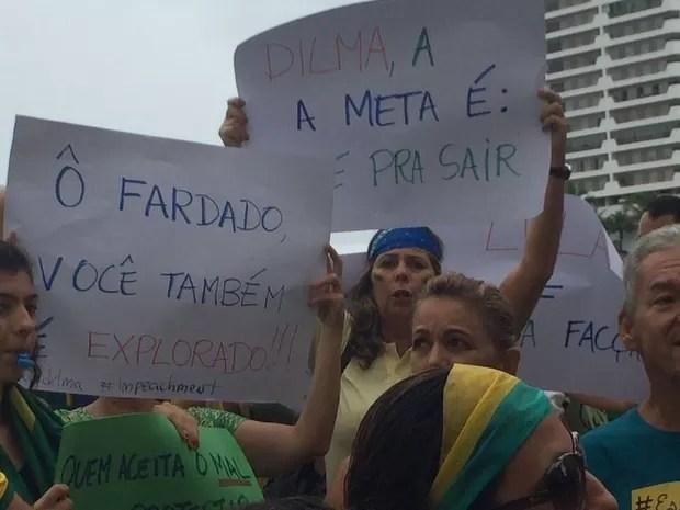 Manifestantes protestam contra o governo Dilma  (Foto: G1)