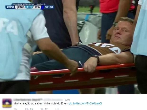 Mais um meme sobre o Enem inspirado no futebol (Foto: Reprodução/Twitter)