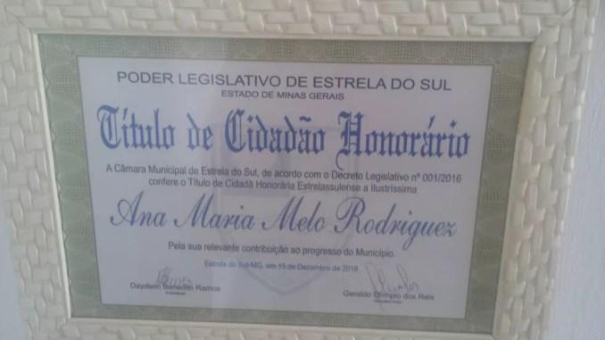Médica cubana Ana Maria Rodriguez recebeu o título de cidadã honorária na cidade que clinicou — Foto: Ana Maria Rodriguez/Arquivo pessoal