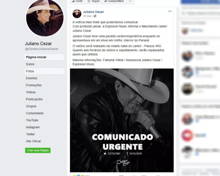 Cantor Juliano Cezar morreu em Uniflor, no norte do Paraná, na madrugada desta terça-feira (31) — Foto: Reprodução/Facebook