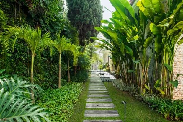 Corredor com maciços de lambaris, palmeiras, íris, moreias e filodendrosnas laterais (Foto: Edu Castello / Editora Globo)