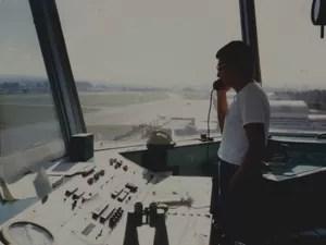 Sérgio Mota na torre de controle em São José (Foto: Arquivo Pessoal/Sérgio Mota)