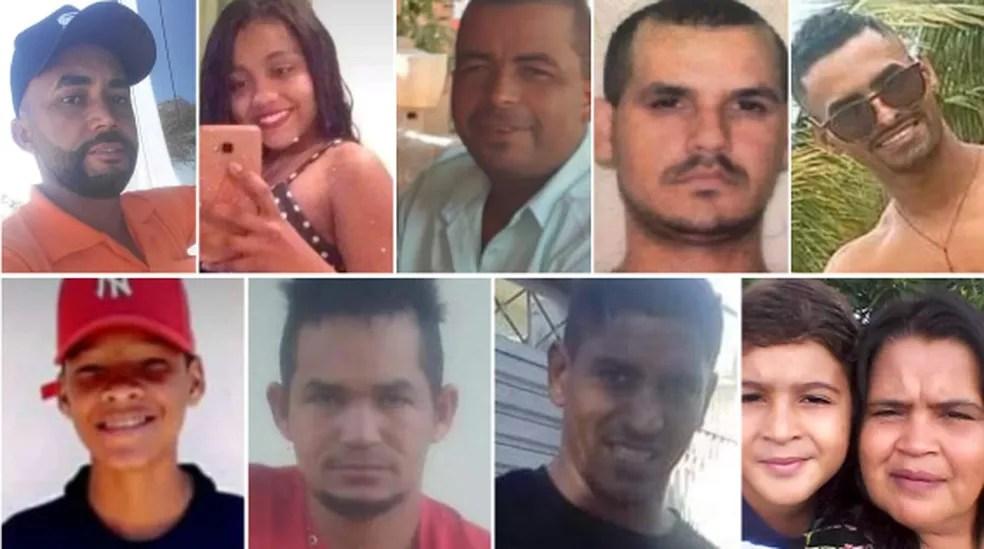 Algumas das vítimas fatais do acidente com 12 mortes em Patos de Minas — Foto: Arte G1