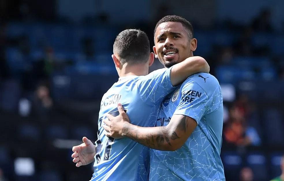 Gabriel Jesus foi o melhor em campo no jogo de ida e soma 22 gols e nove assistências na temporada pelo City — Foto:  REUTERS/Shaun Botterill