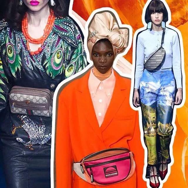 A pochete pontuando os looks de primavera verão 2018 da Gucci, Marc Jacobs e Balenciaga (Foto: Montagem: Imaxtree)