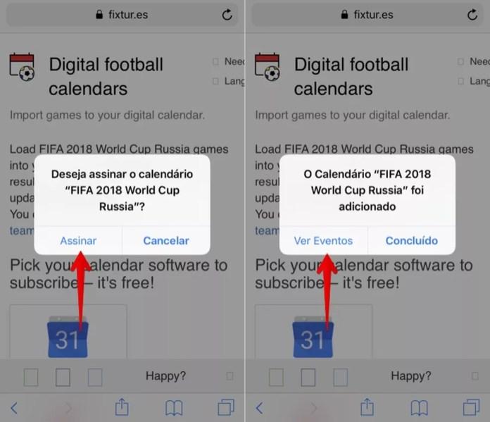 Assinando calendário de jogos no iPhone (Foto: Reprodução/Helito Bijora)