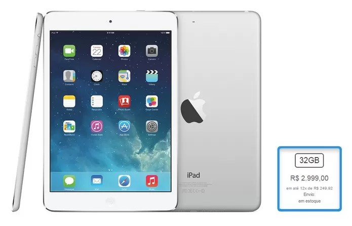 iPad Air Wi-Fi + Cellular de 32 GB teve aumento de 36,38% (Foto: Reprodução/Apple)