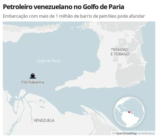 Navio com mais de 1 milhão de barris de petróleo corre risco de afundar no Golfo de Paria, na Venezuela — Foto: Fábio Manzano/G1