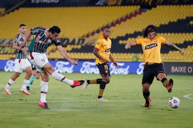 Fred, do Fluminense, na partida contra o Barcelona de Guayaquil pela Libertadores — Foto: Santiago Arcos-Pool/Getty Images