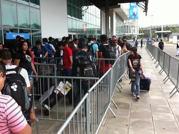 Na edição 2013, filas para entrar na Campus Party estão menores (Foto: Laura Brentano/G1)