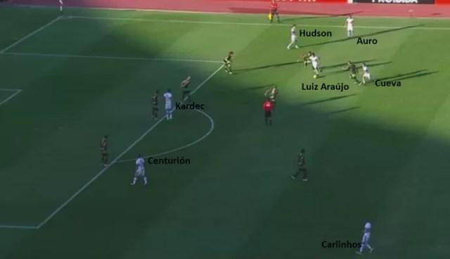 Hudson avançado + laterais ao lado dos pontos + movimentação de Cueva = Tricolor envolveu o América-MG (Foto: Reprodução)