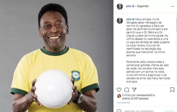 Publicação no Instagram de Pelé (Foto: Reprodução/Instagram)