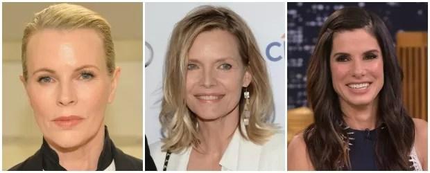 Kim Basinger, de 62 anos, Michelle Pfeiffer, de 57, e Sandra Bullock, de 51 (Foto: Getty Images)