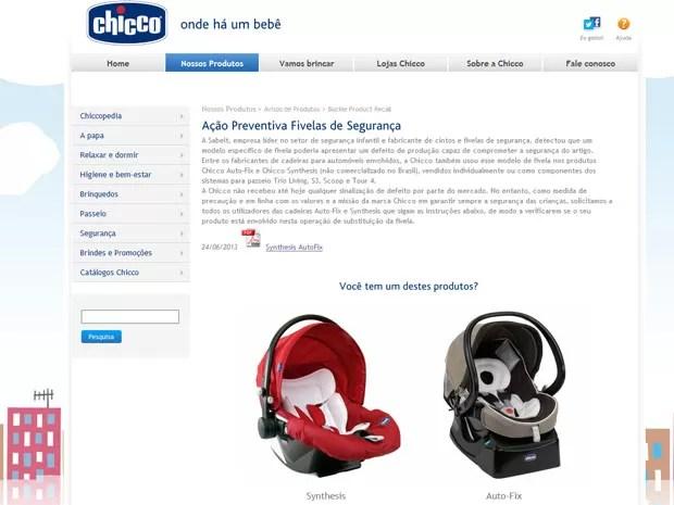 Chicco publicou um alerta em sua página com as imagens dos produtos envolvidos no recall (Foto: Reprodução)