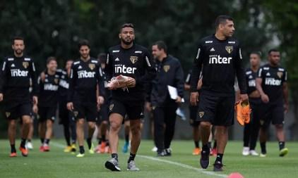Jogadores do São Paulo no treino desta quinta — Foto: Rubens Chiri / saopaulofc.net