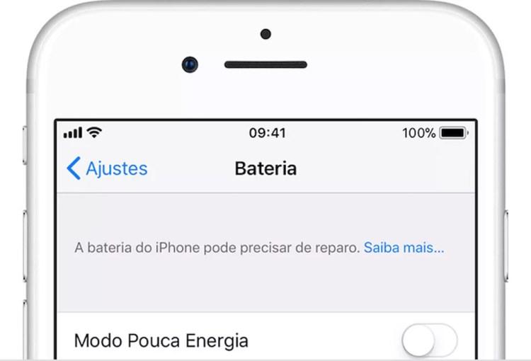 iPhone informa sobre a necessidade de reparo na bateria (Foto: Reprodução/Apple)