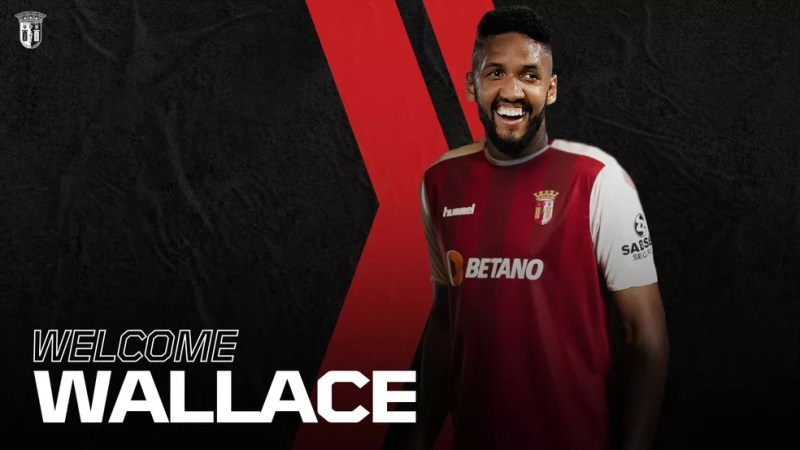 Wallace jogou três meses sob o comando de Sá Pinto, entre setembro e dezembro de 2019 — Foto: Reprodução/Braga