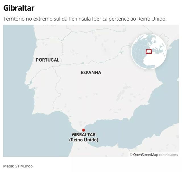 MAPA - Gibraltar — Foto: G1 Mundo