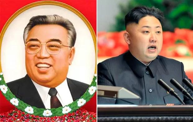 Segundo rumores, o ditador Kim Jong-un teria feito uma cirurgia plástica para se parecer com seu avô, Kim Il-sung. No entanto a Coreia do Norte negou e disse que a semelhança é 100% natural (Foto: AP/Reuters)