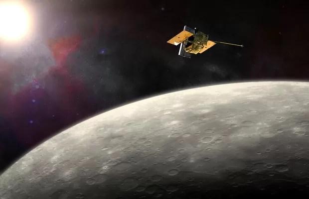 Concepção artística mostra sonda MESSENGER, da Nasa, orbitando Mercúrio  (Foto: Nasa/JHU APL/Carnegie Institution of Washington)