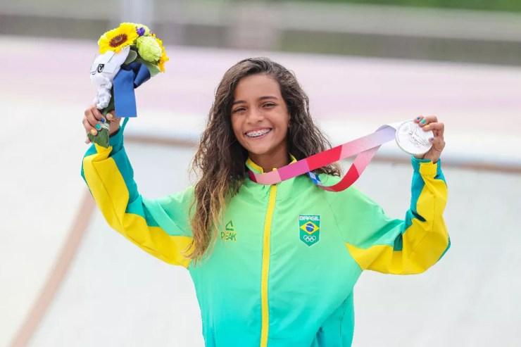 Rayssa Leal fadinha, skate street, Olimpíadas de Tóquio, medalha de prata — Foto: André Durão