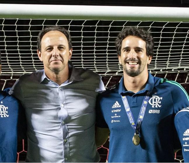 Rogério Ceni e Charles Hembert na passagem da dupla pelo Flamengo — Foto: Alexandre Vidal/Flamengo