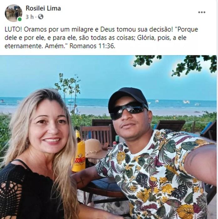Post nas redes sociais informou sobre a morte do marido da delegada — Foto: Facebook/Reprodução
