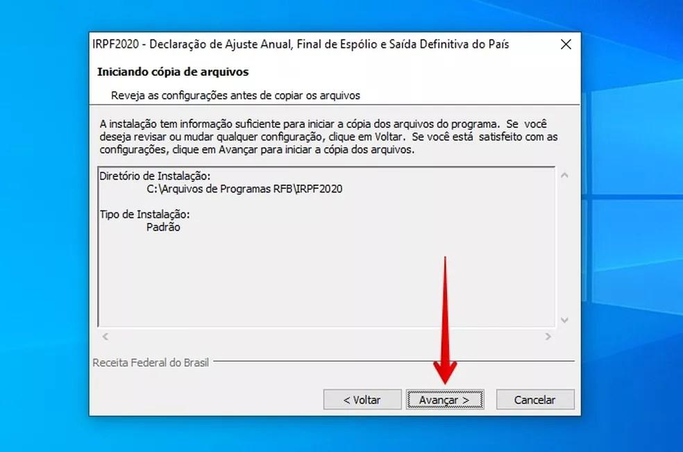 Instalação do IRPF 2020 no Windows — Foto: Reprodução/Helito Beggiora