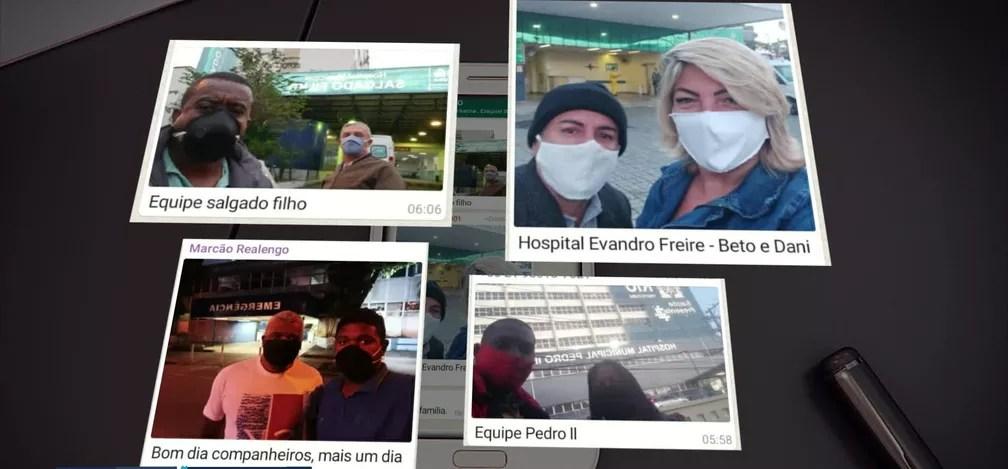 Funcionários mandam selfies para dizer que chegaram aos hospitais — Foto: Reprodução/TV Globo