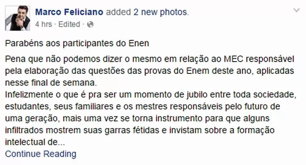 Deputado Marcos Feliciano criticou questão sobre lutas feministas com Simone de Beauvoir no Enem (Foto: Reprodução/Facebook)