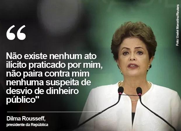 """Dilma diz que não """"existe nenhum ato ilícito"""" praticado por ela (Foto: Ueslei Marcelino/Reuters)"""