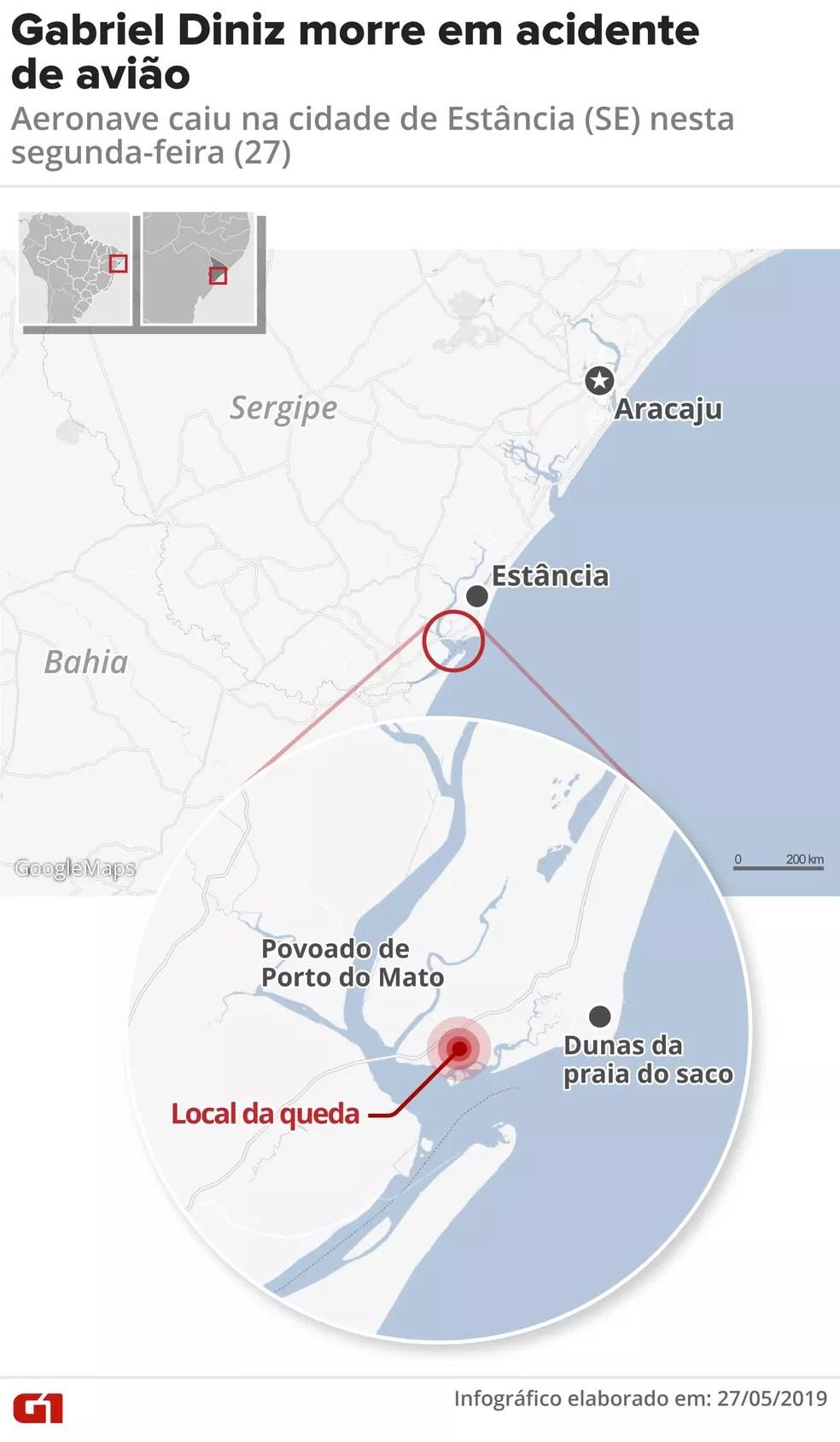 mapa-queda-aviao-sergipe Homem descreve acidente de Gabriel Diniz: 'Caindo sem asa'